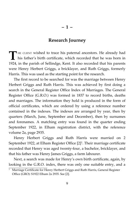 Research report page from the family history book