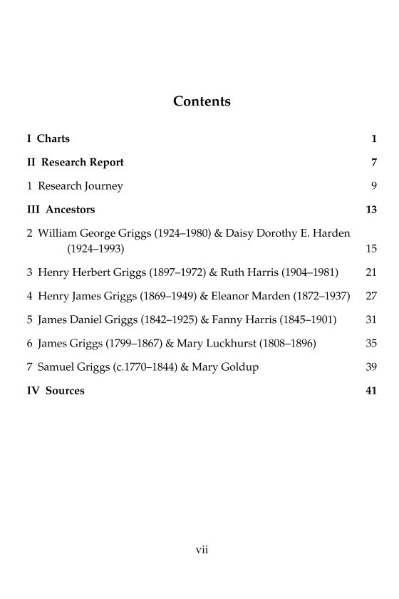 Contents page from family history book